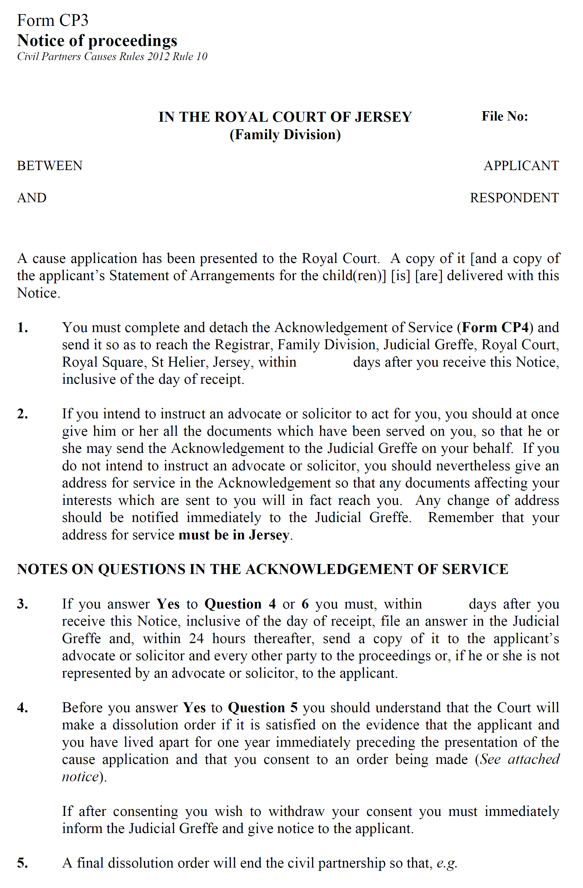 Form CP3 - Notice of proceedings