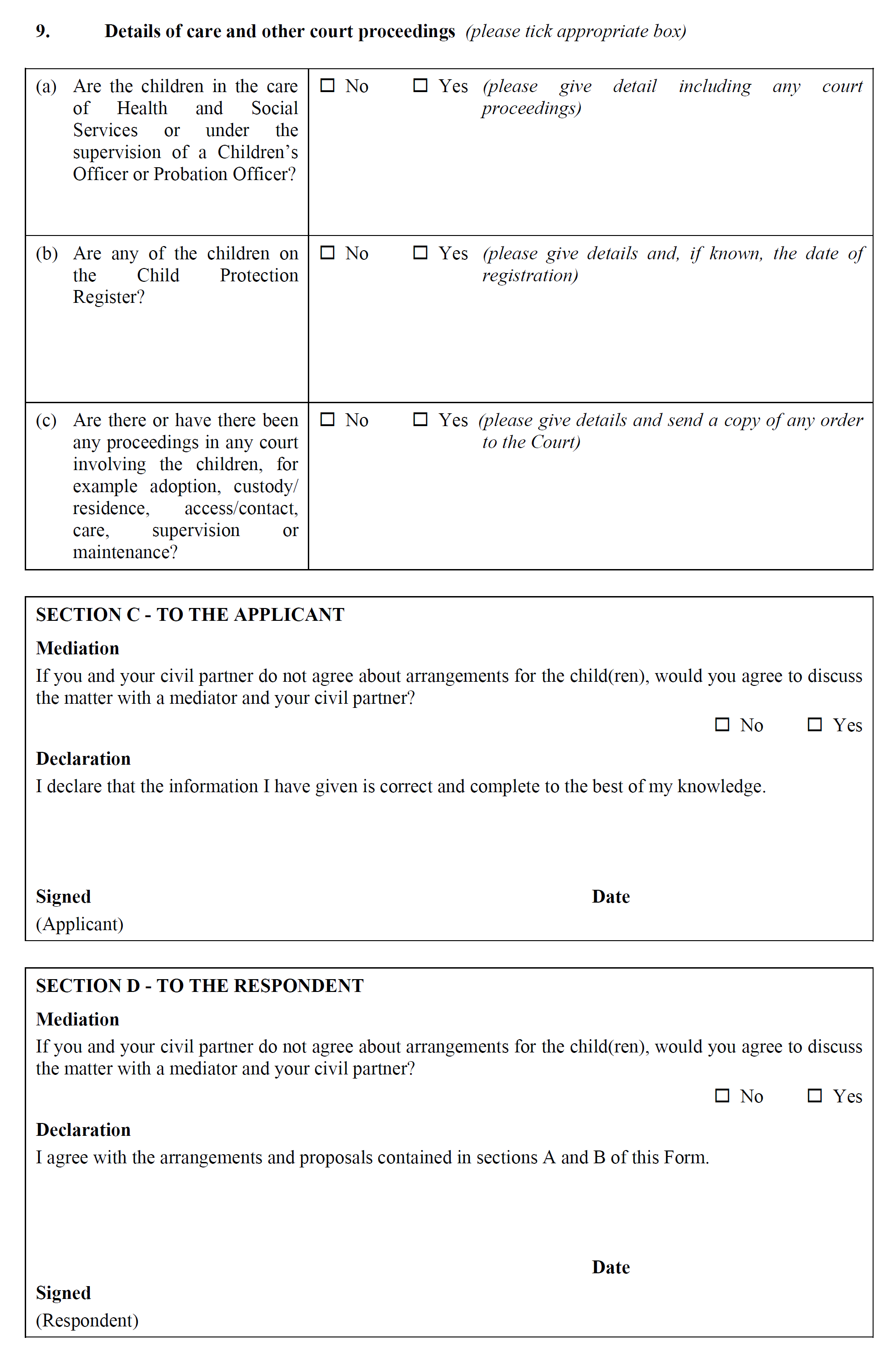 Form CP5 - Statement as to arrangements for children - continued