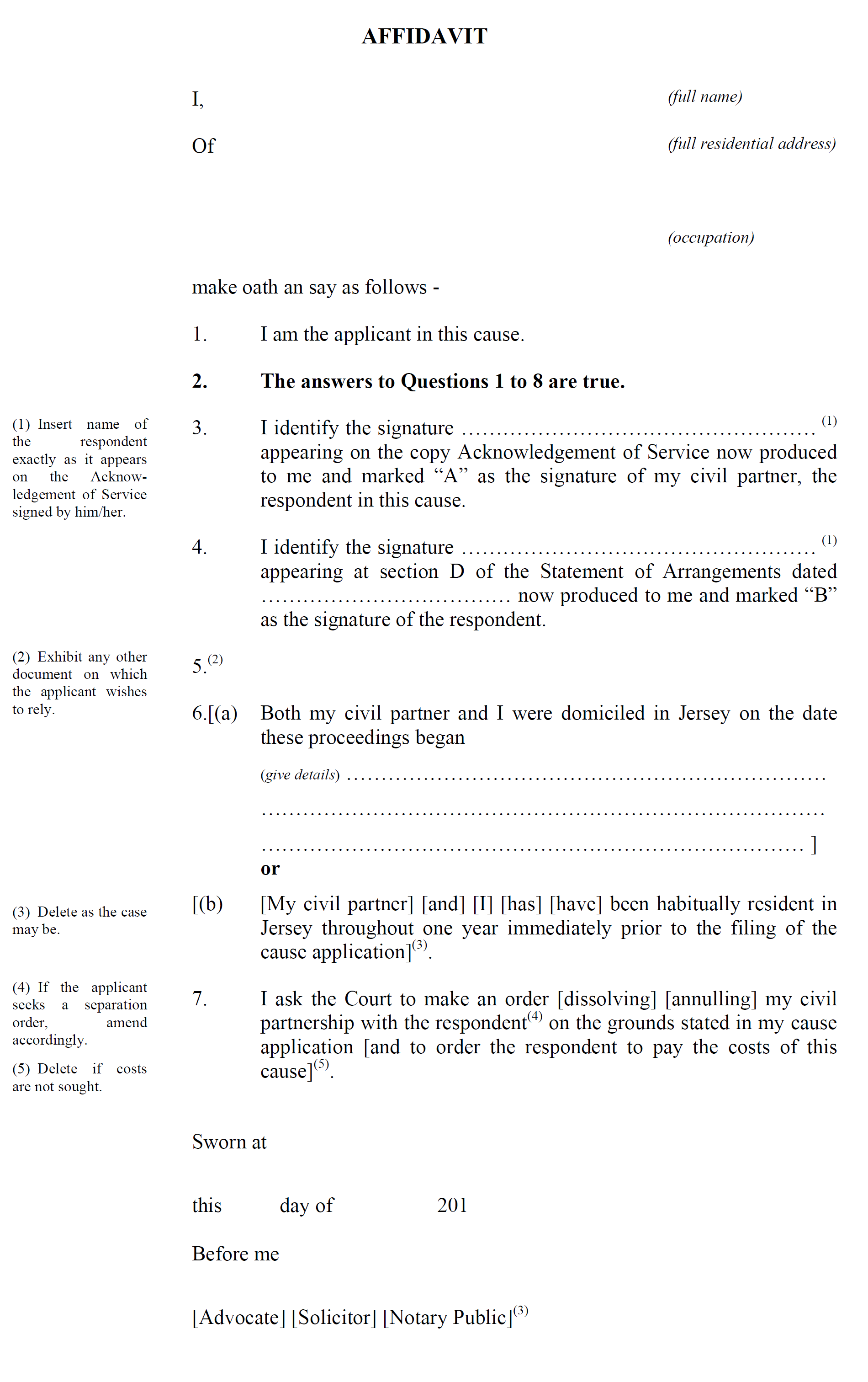 Form CP7 - Affidavit by applicant in support of cause application on the grounds of one year's or two years' separation, or on the ground of nullity - continued