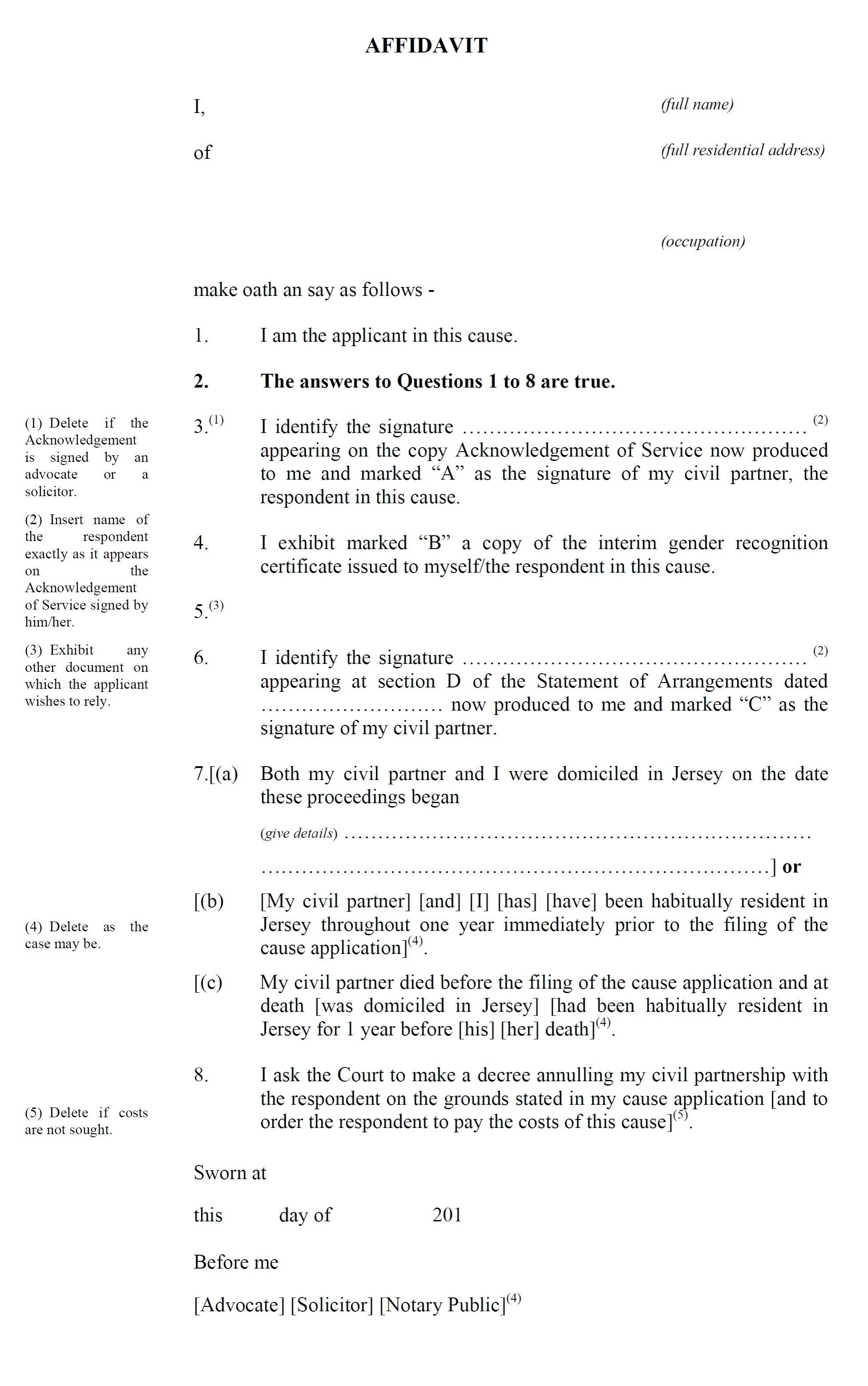 Form CP8 - Affidavit by applicant in support of cause application for annulment under Article 28(c)(i) of the Civil Partnership (Jersey) Law 2012 - continued