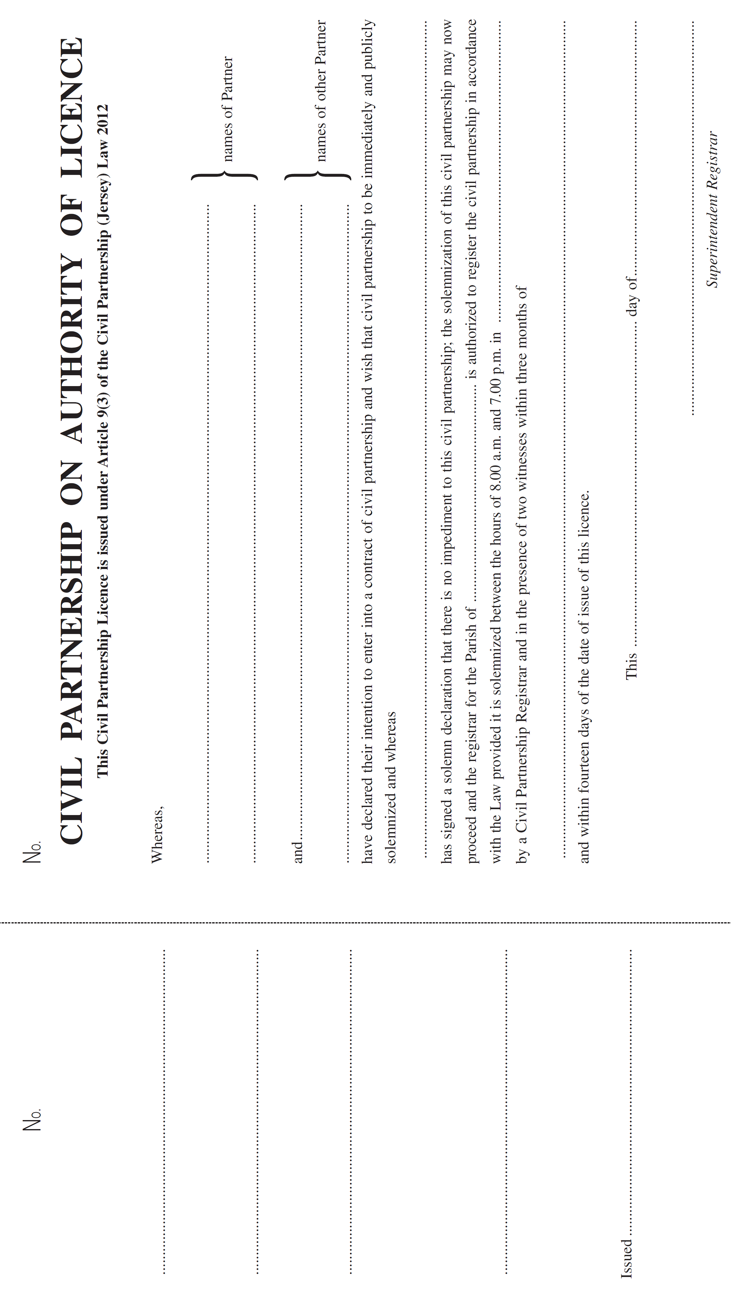 Civil Partnership Forms Registration And Fees Jersey Order - Partnership legal documents