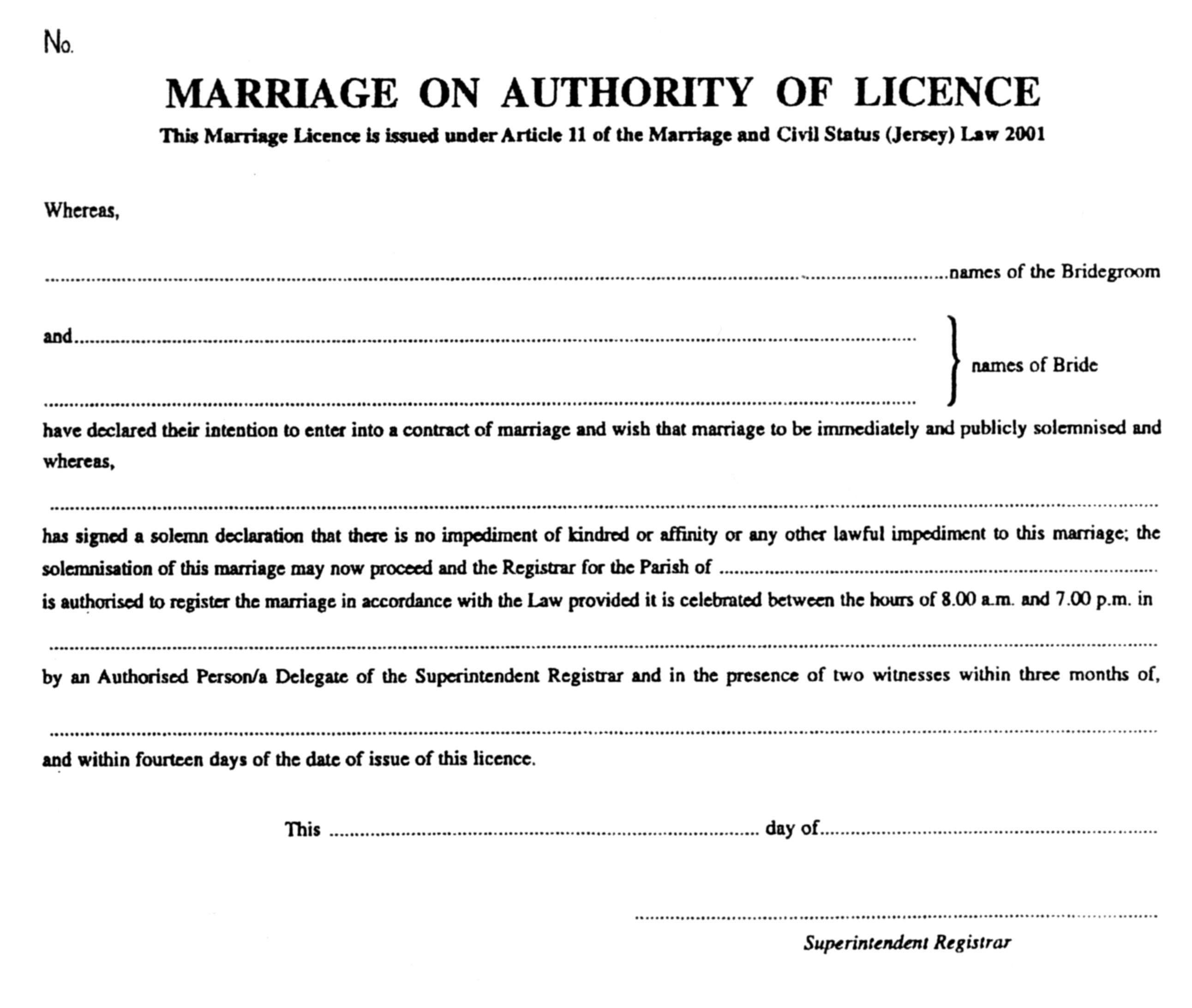Marriage and civil status forms registration and fees jersey licence xflitez Gallery