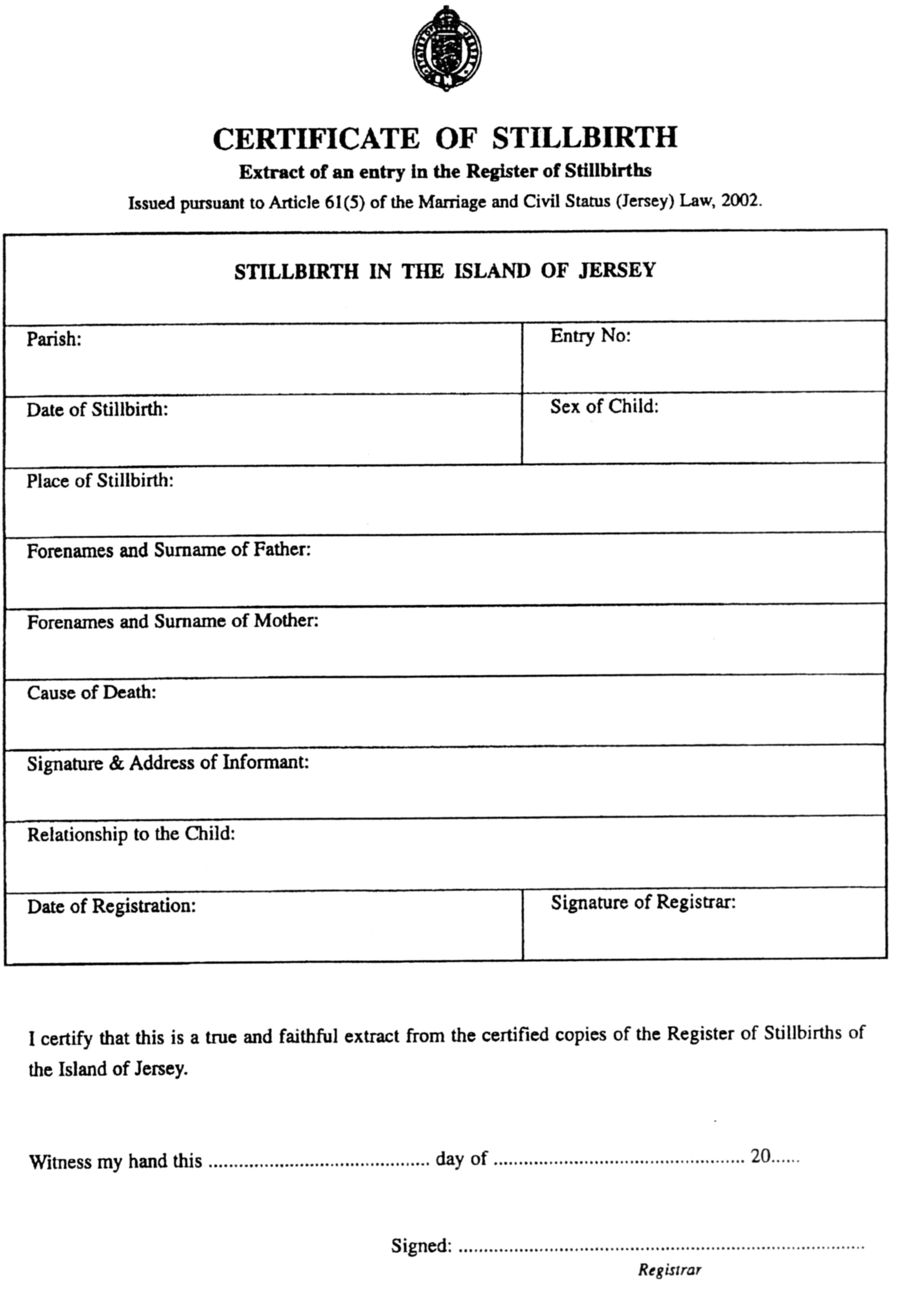 Marriage and civil status forms registration and fees jersey certificate of registration of stillbirth aiddatafo Gallery