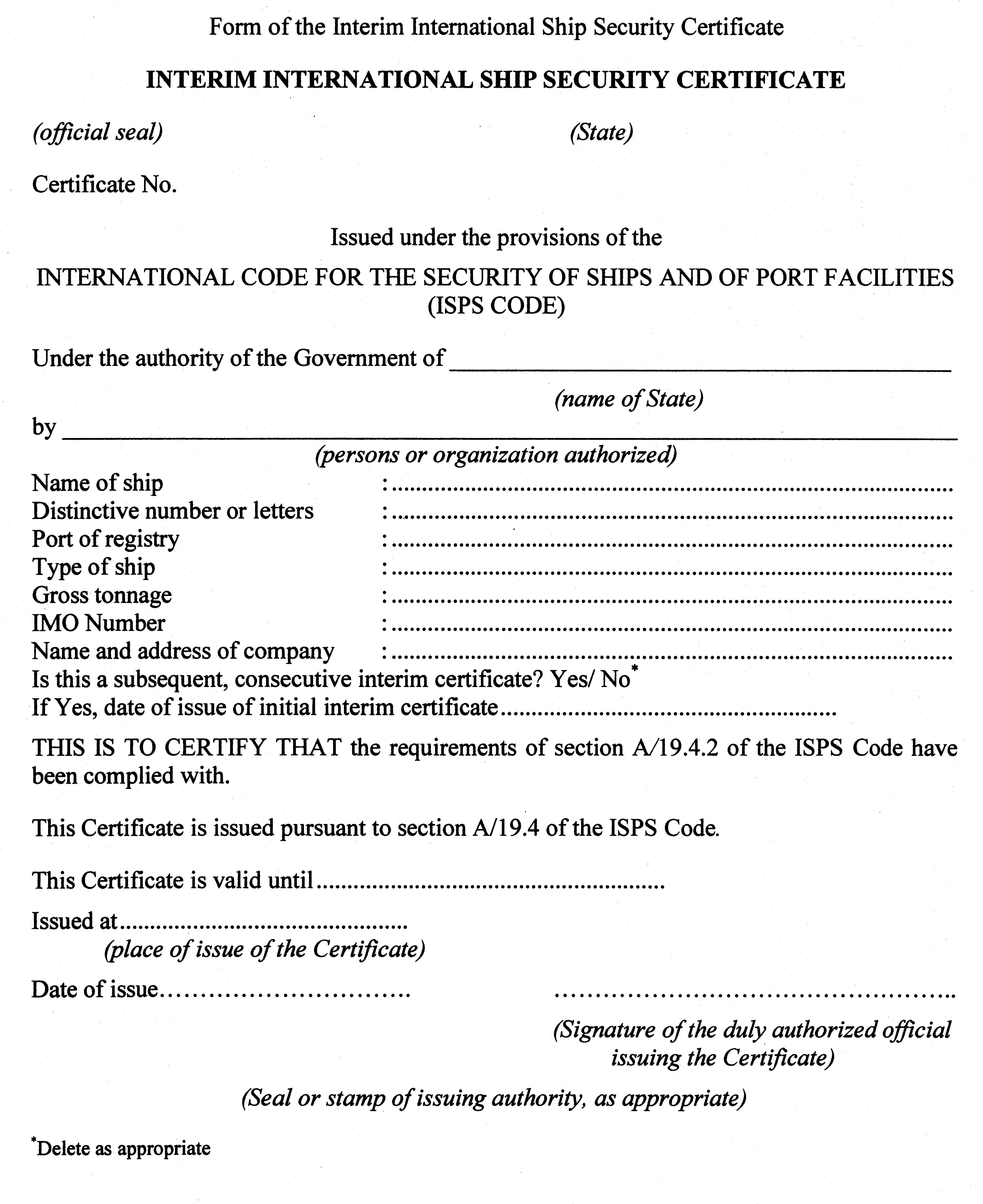 Community provisions ship and port facility security jersey appendix 2 form of the interim international ship security certificate spiritdancerdesigns Images