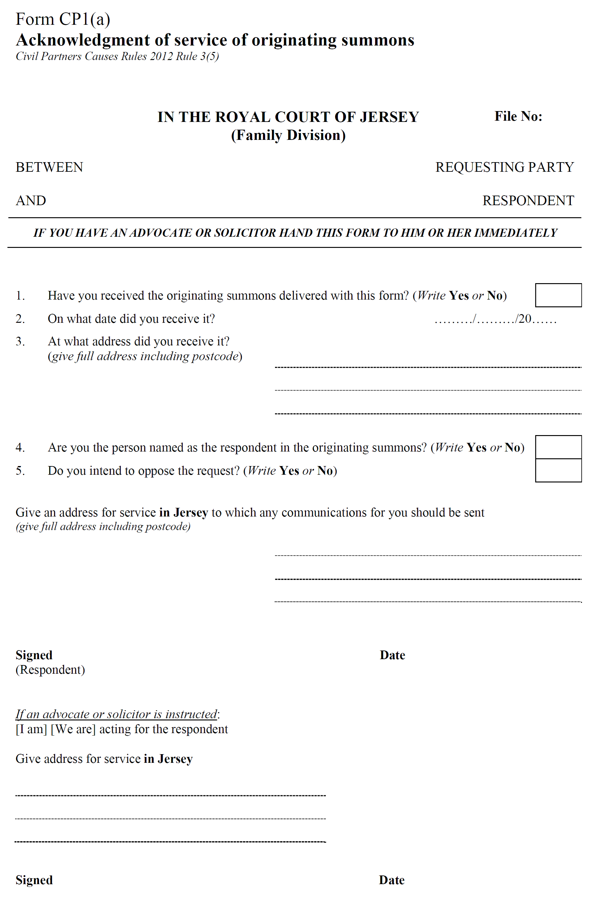 Civil Partners Causes Rules 2012 – Civil Summons Form