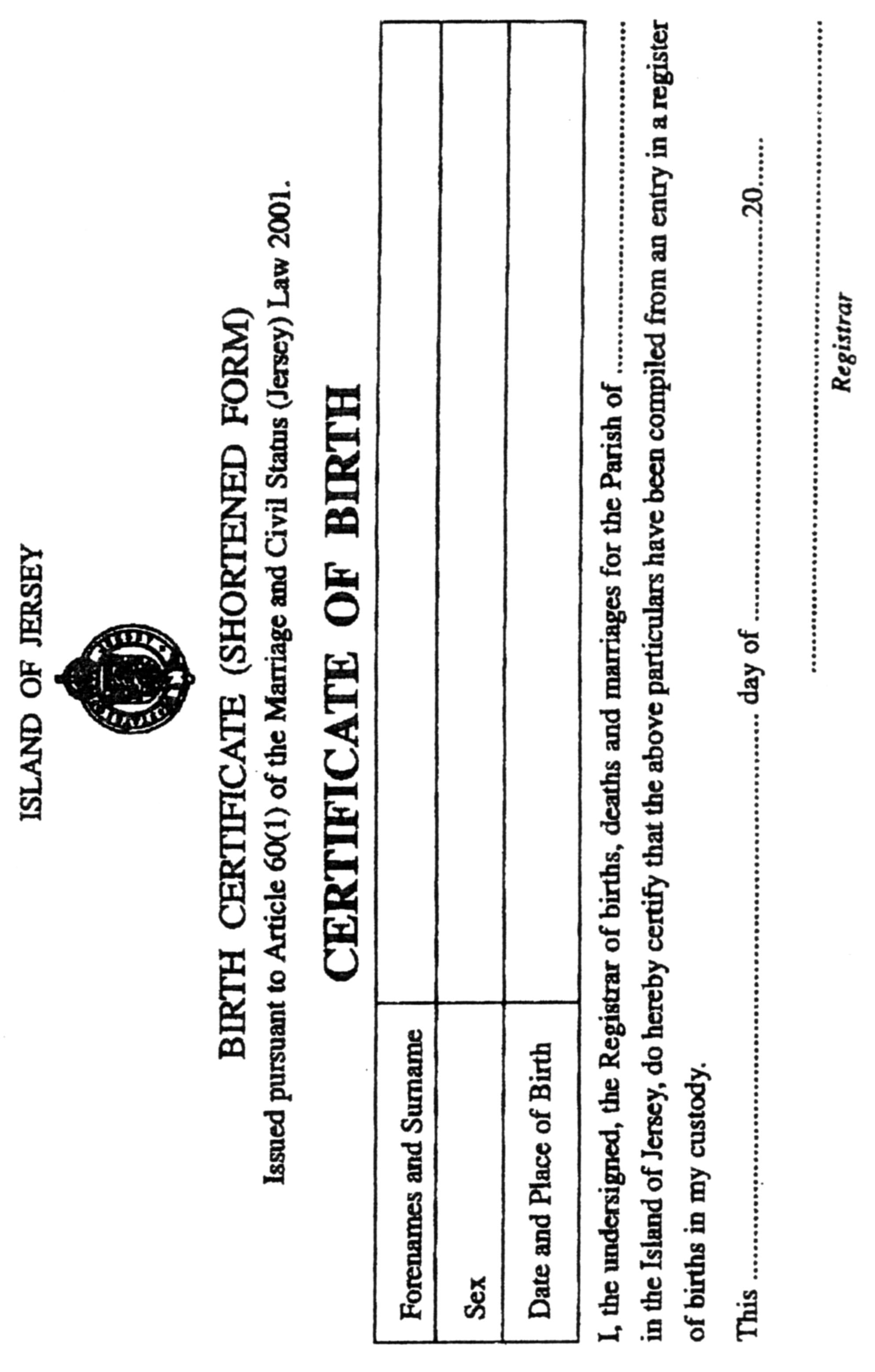 Marriage And Civil Status Forms Registration And Fees Jersey